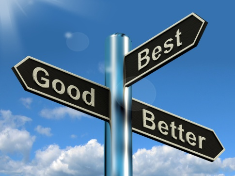 Good Better Best Signpost Representing Ratings And Improvement